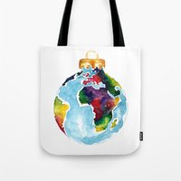 globe Tote Bags featuring Globe Bauble by Bridget Davidson