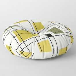 1950's Abstract Art Chartreuse Floor Pillow