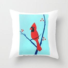 Cardinal Winter Berries Throw Pillow