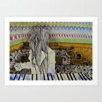 beth hoeckel Art Prints featuring beth by Laura Eckes