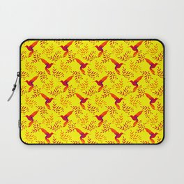 Pretty beautiful cute red hummingbirds, delicate twigs with little leaves yellow pattern. Gift ideas Laptop Sleeve
