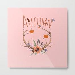 Pink Autumn Antlers Metal Print