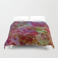 vintage floral Duvet Covers featuring vintage floral by clemm
