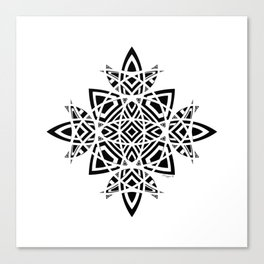 #8 Geometric Abstract Floral Ornament - Black And White Canvas Print