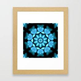 Blue Green Heart Mandala Kaleidoscope Pattern Framed Art Print