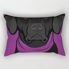 Icons of the Dog Park: Black Labrador Design in Bold Colors for Pet Lovers Rectangular Pillow