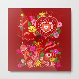 Love Hearts Flowers - Valentine's Day Gifts Metal Print
