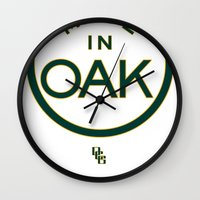 oakland Wall Clocks featuring Made in OAK - Oakland A's by DCMBR - December Creative Group
