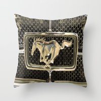 mustang Throw Pillows featuring Mustang  by Dragons Laire