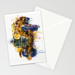 Oldtimer Automobile Watercolor Painting Stationery Cards