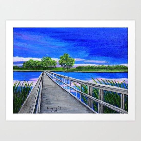 Walking bridge on the lake  Art Print