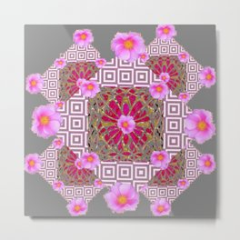 Grey Abstract Pink Roses Floral Pattern Metal Print