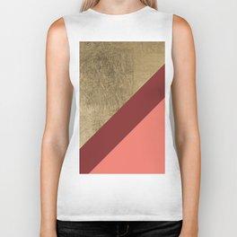 Modern gold foil burgundy peach color block geometric stripes pattern Biker Tank