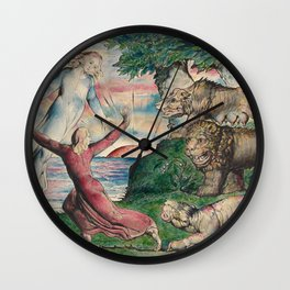 William Blake - Dante Running From The Three Beasts. Wall Clock