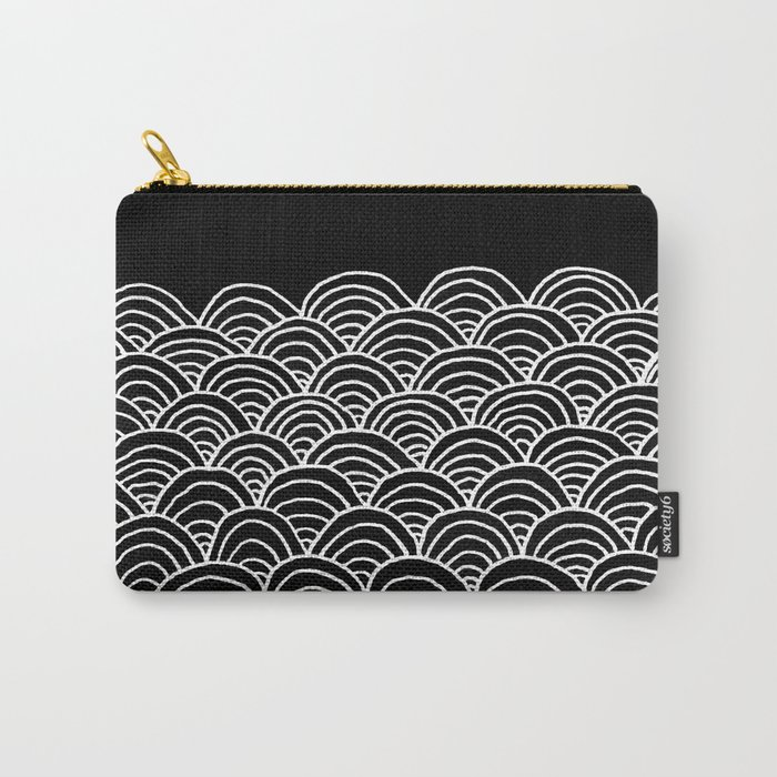 Black and White Waves Drawing Carry-All Pouch