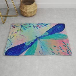 Whimsical dragonfly watercolor painting illustration Rug