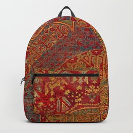 Bohemian Medallion VI // 15th Century Old Distressed Red Green Blue Coloful Ornate Rug Pattern Backpack