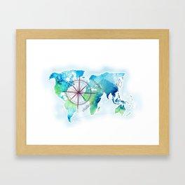 Watercolor map Framed Art Print