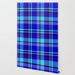 Blue Plaid Pattern Wallpaper
