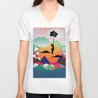 collage V-neck T-shirts featuring collage by mark ashkenazi