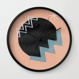 Star and vibrations on a black hole - minimalist design Wall Clock