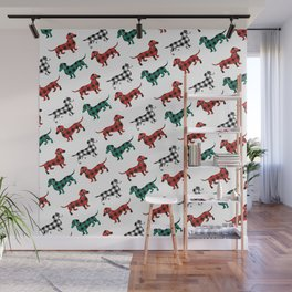 Christmas Dachshunds Red Flannel Wall Mural
