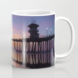 Sunset At Low Tide At The Huntington Beach Pier Coffee Mug
