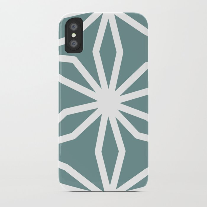 CUBIC FLOWER PATTERN - blue iPhone Case