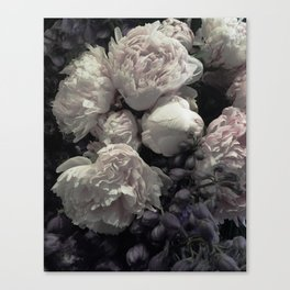 Peonies pale pink and white floral bunch Canvas Print