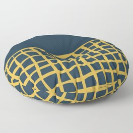 Mesh Cuff Solid Minimalism in Light Mustard Yellow and Navy Blue Floor Pillow