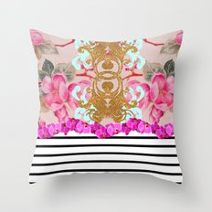 Fashion Girly Pink Vintage Floral Trendy Stripes Pattern Throw Pillow