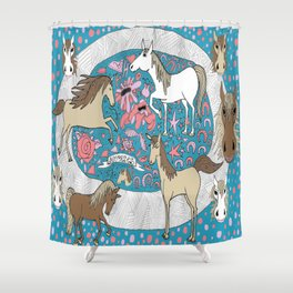 All the Pretty Horses Shower Curtain