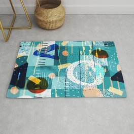 Abstract colorful geometric shapes collage Rug
