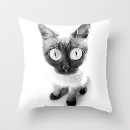 Funny alien cat Throw Pillow