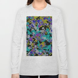 Dark Splatter - Abstract, paint splatter pattern in black, cyan, yellow, white and green Long Sleeve T-shirt