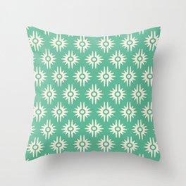Mid Century Modern Bang Pattern 271 Green Beige Throw Pillow