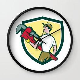 Plumber Carry Monkey Wrench Walking Crest Cartoon Wall Clock