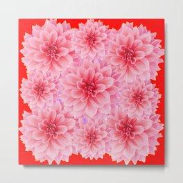 PINK DAHLIA FLOWERS IN RED COLOR ART Metal Print