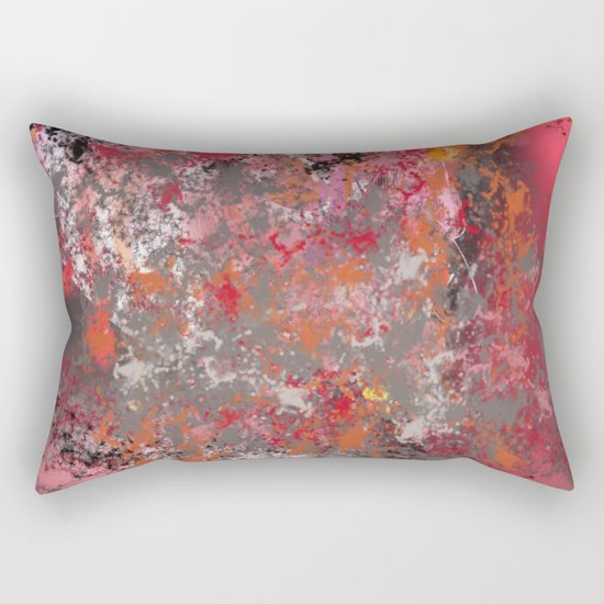 Red and Grey Abstract No.5 Rectangular Pillow