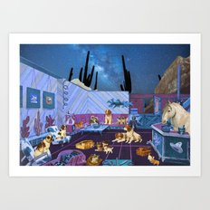 LIKE DOGS AND CATS Art Print