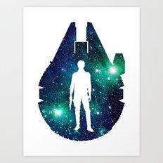 Han Solo and Cosmic Millennium Falcon Art Print