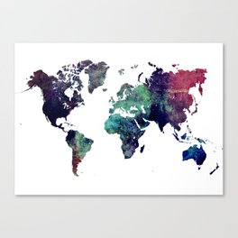 Map of the World After Ice Age Canvas Print