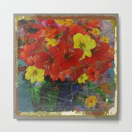 GRUNGY ANTIQUE RED FLORAL STILL LIFE Metal Print
