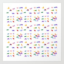 All the Colored Horses!  Horse Pattern Art Print