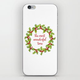 Christmas Holly Wreath The Most Wonderful Time iPhone Skin