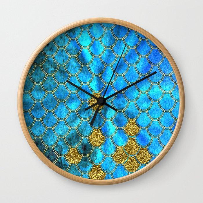 Blue Aqua Turquoise And Gold Glitter Mermaid Scales -Beautiful Mermaidscales Pattern Wall Clock
