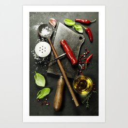 Vintage cutlery and fresh ingredients on dark background Art Print