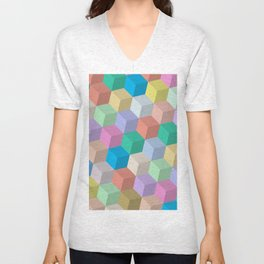 Pastel Colored Perspective Cubes Unisex V-Neck