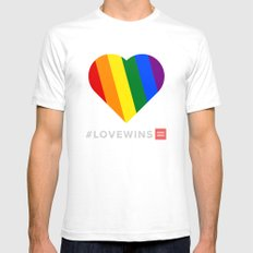 #LoveWins White SMALL Mens Fitted Tee