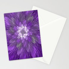 Psychedelic Purple Flower, Fractal Art Stationery Cards
